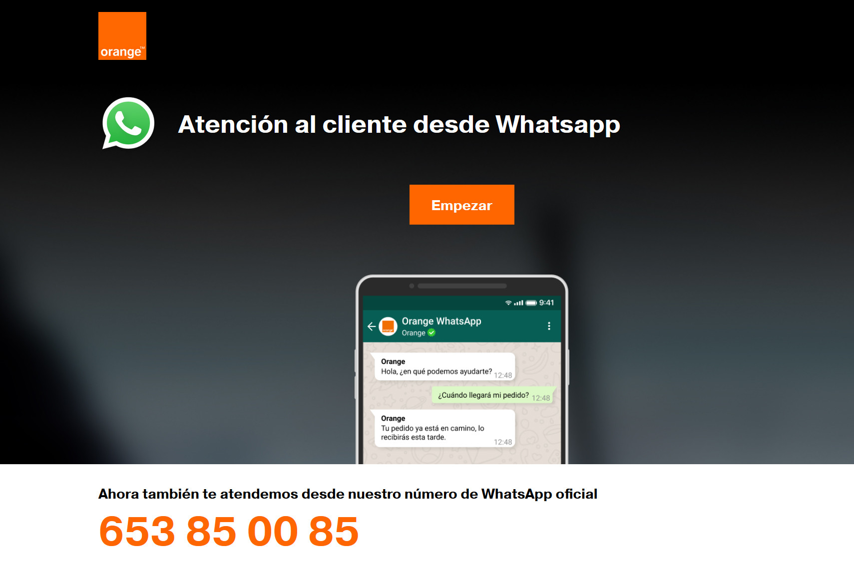 atención whatsapp orange